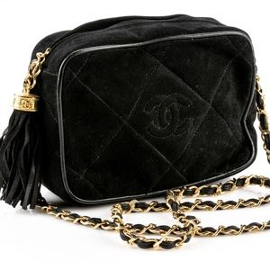 CHANEL Bags - Authentic Vintage Chanel Chain Link Black Suede